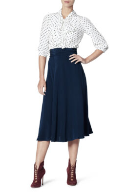 Cindy blouse dot Lydia skirt navy front 1