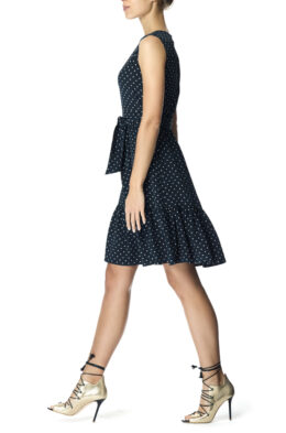 Charlie dress navy blush dot side