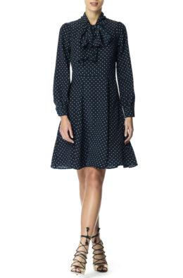 Daria dress navy blush dot front 1
