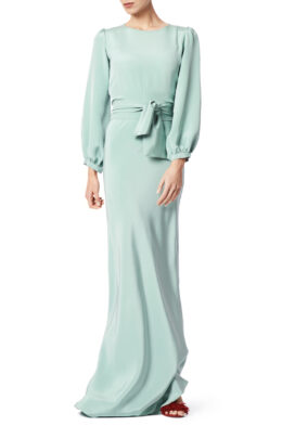 Mary gown sage green front 2